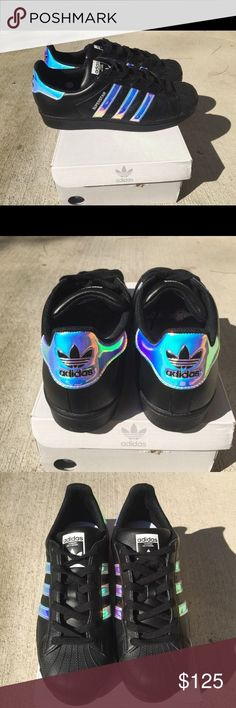Adidas Women Shoes - Holographic adidas Women size 7 ▫️Adidas Womens  Superstar Size 7 ▫️Custom Made Black leather Holographic style ▫️Brand New  ...