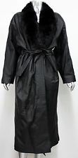 DIRECT ACTION S Long Leather Belted Trench Coat Black Dyed Blue Fox Fur Trim