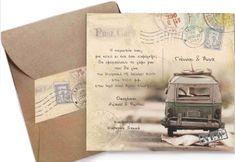 Προσκλητήριο ταξιδιωτικό με βανάκι από 0,50 με φάκελλο κραφτ!!! www.aquarella.gr Personalized Items