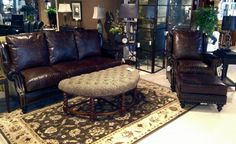 Designer Select Leather Sofa and Varitilt Chair w/Ottoman.