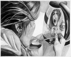 reflection drawing – [pin_pinter_full_name] reflection drawing reflection drawing Kunst Portfolio, Ap Drawing, Drawing Eyes, Life Drawing, High School Art Projects, Reflection Art, Ap Studio Art, A Level Art, Drawing Projects