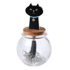 Black Cat Paperclip Holder