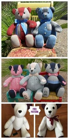 DIY Recycled Clothes Memory Bear Free Sew Patterns out of Men Shirt - Stofftiere Teddy Bear Patterns Free, Teddy Bear Sewing Pattern, Sewing Patterns Free, Free Sewing, Cloth Patterns, Doll Patterns, Sewing Ideas, Sewing Stuffed Animals, Stuffed Animal Patterns