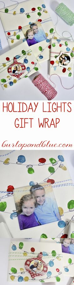 holiday lights gift wrap-a great way to get the kids involved in wrapping! #SK #ad