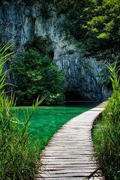 Walkway over the water in Plitvice color photo Croatia Travel Green Summer