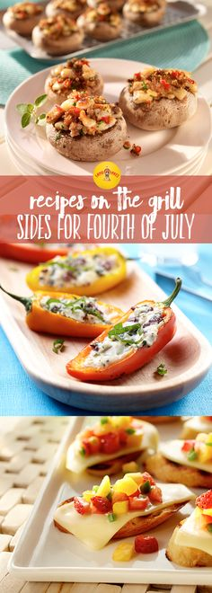 Start your July celebration with these grilled bites. From stuffed mushrooms to stuffed peppers, you can't go wrong with quick and easy sides like these. Summer Recipes, Holiday Recipes, Great Recipes, Favorite Recipes, Holiday Treats, Fourth Of July Food, July 4th, Appetizers For Party, Appetizer Recipes