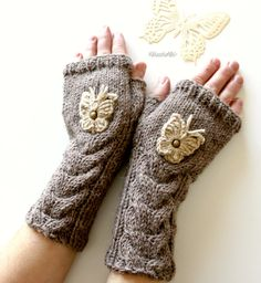 Alpaca Winter Autumn Brown Arm Warmers Butterfly Hand by NastiaDi