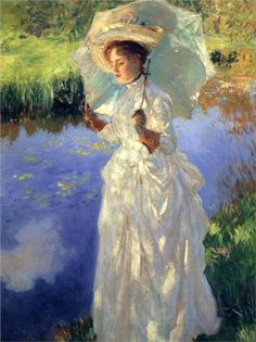 "John Singer Sargent -     ""Morning Walk"", 1888. I just love the moo do this painting and the colors too."