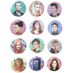 DOCTOR WHO BUTTONS The Pulp Girls ($3) ❤ liked on Polyvore featuring doctor who i other