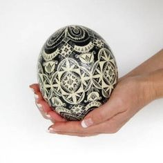 Ostrich egg shell painted in Black and White pysanka egg by