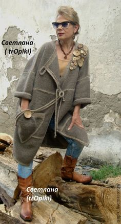 Купить Пальто вязаное авторское - коричневый, пальто женское, пальто демисезонное, вязаное пальто