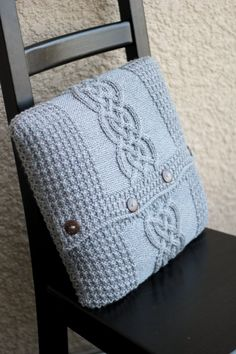 Hand knit pillow case with cable pattern on the center of the case.  This knit #pillowcase also has coconut shell buttons on the back side to button up the pillow case.  The... #kgthreads #valentine