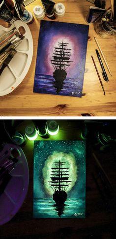 Glow in the dark art by Cristoforo Scorpiniti // glow in the dark paintings
