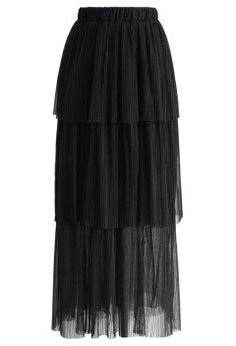 Tiers of Joy Mesh Maxi Skirt in Black - Skirt - Bottoms - Retro, Indie and Unique Fashion
