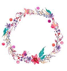 Watercolor flower wreath background vector- by Elmiko on VectorStock®