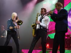 The Chicago Horns: Jimmy Pankow, Ray Herrmann, and Lee Loughnane, at the Township Auditorium, Columbia, SC. Photo by Stephanie Carta.