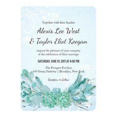 Aqua Teal Blue Watercolor Succulent Wedding Invite