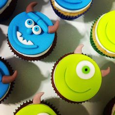Place of Cakes Monster Inc Birthday, Monster 1st Birthdays, Monster Inc Party, Monsters Inc Cupcakes, Monster Cupcakes, Fondant Cupcake Toppers, Cupcake Cakes, Monsters Inc Baby Shower, Monster Treats