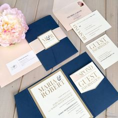 Navy, Shimmery Blush, Gold and Ivory Pocket Invitation Set  This listing is for either a SAMPLE ($7.95), OR DEPOSIT ($100). Please read below for additional information, including pricing details, upgrades and ordering information. A custom listing will be set up for each order.  ---------------------------------  Our invitations are printed on high quality 110lb. white or ivory matte or linen card stock. Shimmer white or ivory card stock is also available at an additional charge.  WHAT IS…