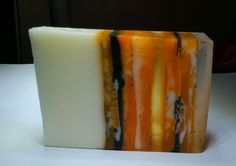 """Harvest Tiger"" soap made using swirl techniques in Soap Queen swirl video #3."