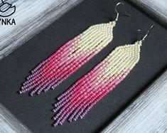 Beaded earrings, long earrings, native earrings, seed bead earrings,purple chandelier earring,ukrainain,fringe earrings, from pink to violet