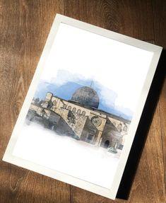 Al Aqsa Mosque Art Print / Masjid Al Aqsa Print / Holy Mosque Print / Islamic Wall Art Print / Islamic Gift / Eid Gift Islamic Wall Art, Islamic World, Islamic Gifts, Watercolor Effects, Photo Quality, Holi, Wall Art Prints, Royal Mail, Hebron Israel