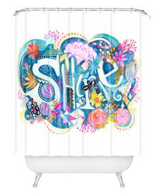 This 'Shine' Watercolor Shower Curtain by DENY Designs is perfect! #zulilyfinds