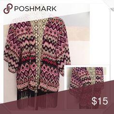 Fringed kimono Cute thin light weight kimono...NWOT Tops
