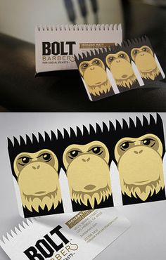 Bolt Barbers Design by Perspective B.  barbershop business cards . monkey . illustration . logo design. identity