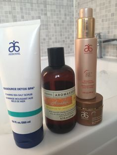 All you need for a relaxing bath. Sea salt stub, Re9 cellular renewal mask (game changer for renewed skin)  Re9 anti ageing face wash and awaken body wash   www.camillagray.arbonne.com
