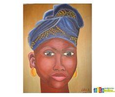 Portrait of a black woman, pictura in ulei, original - Vanzare Tablouri, Pictori Romani, Pictura Ulei, Arta, Decoratiuni, Cadouri