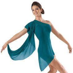 One-Shoulder Mesh Biketard Dance Dress; Balera