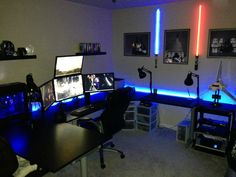 Jameson: Great Gaming Station Computer Desk for Gaming Maniac: Basement Game Room Ideas With Gaming Station Computer Desk And Wall Art Also Floating Shelves With Reading Lamps And Desk Chair And Carpet