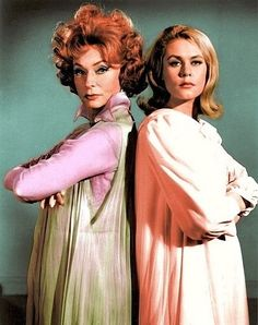 Endora and Samantha - mother and daughter witches, played by Agnes Moorehead and Elizabeth Montgomery...the 1960's show, BEWITCHED.  Personally, I think Samantha should have dumped Darren...he was a jerk to her.