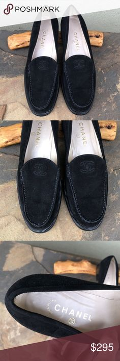"Chanel suede logo loafers Guaranteed authentic! Chanel black suede slip on loafers. Signature logo stitched on each shoe. 1.5"" block heel. Size 40.5, please be familiar with your sizing in Chanel as this brand runs small! In my opinion fits more like 9.5-10. Never worn outside but very light wear from storage. Comes in Chanel box but it's not the original box for these specific style of shoes. CHANEL Shoes Flats & Loafers"