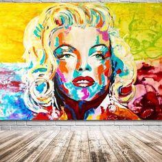 ORIGINAL Portrait Acrylic Painting to Marilyn MONROE Art Wall Art Decor Gifts Modern Contemporary Art by Kathleen Artist.