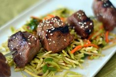 Quick Asian Steak Kebabs with Broccoli Slaw - Chew Nibble Nosh Kebab Recipes, Beef Recipes, Healthy Recipes, Healthy Foods, Yummy Recipes, Yummy Food, Broccoli Slaw Recipes, Kebabs On The Grill, Cooking Together