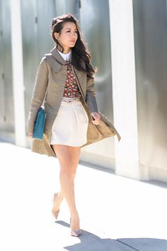 Wendy's Lookbook: Olive trench Red patterned blouse Cream tulip skirt Blue clutch Nude/pink belt Nude pumps