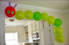 Cute balloon decoration at a Very Hungry Caterpillar Party #veryhungrycaterpillar #partydecor
