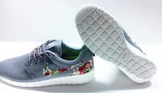 custom nike free roshe gray run athletic women shoes with fabric flowers
