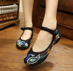 28 Colors Fashion Women's Shoes Old Peking Mary Jane Flat Heel Demin Flats with Embroidery Soft Sole Casual Shoes Plus Size 40-in Women's Flats from Shoes on Aliexpress.com | Alibaba Group