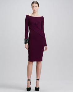 "Donna Karan Asymmetric Drape Long-Sleeve Dress & 4"" Leather Cuff"