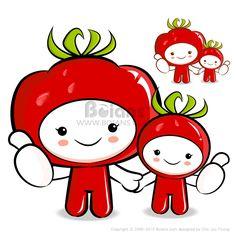 토마토 캐릭터 커플은 야채 판매를 촉진하고있다. 야채 캐릭터 디자인 시리즈. (BCDS010553) Tomato couple characters to promote Vegetable selling. Vegetable Character Design Series. (BCDS010553) Copyrightⓒ2000-2013 Boians.com designed by Cho Joo Young.