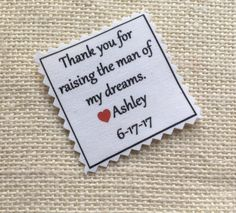 """SKINNY TIE PATCH - Choose Message & Font - Little Heart Accent - Iron On - Sew On - 2"""" x 2"""" - Printed Tie Patch, Father of Bride or Groom #fatherofthegroom #fatherofthebride #weddingtiepatches"""
