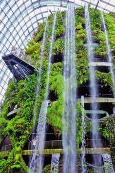 green building waterfalls plant nature landscape marina city park landmark