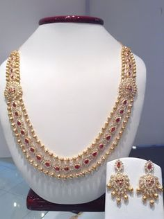 Jewellery Designs : #@ Designer 3 Layers Chandra Haram Set with CZ's ...