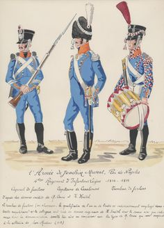 Light Infantry, Fusilier Corporal, Carabinier Captain & Fusilier Drummer by H. Kingdom Of Naples, Kingdom Of Italy, Empire, Naples Italy, Napoleonic Wars, French Artists, Reggio, Army, History