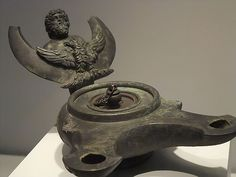 Bronze lamp with head of Jupiter and an eagle Roman century CE Roman Artifacts, Ancient Artifacts, Ancient Rome, Ancient History, Minoan, Jewish Art, Art Institute Of Chicago, Pompeii, Oil Lamps