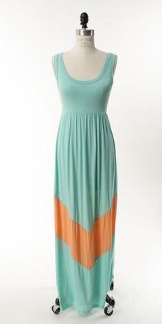 $48....Mint and Coral Color Block Chevron Maxi Dress- was going to order this but its out of stock