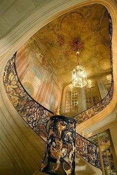 Hotel De Ville, Nancy, France ( Stairs by Jean Lamour ironworker Ceiling by Jean Girardet, painter